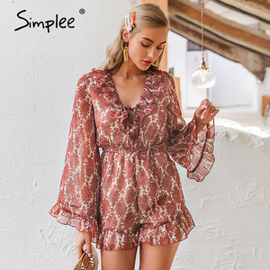 Image 4 - Simplee V cuello de encaje floral mujer elegante flare manga monos de gasa mameluco Playa Damas de