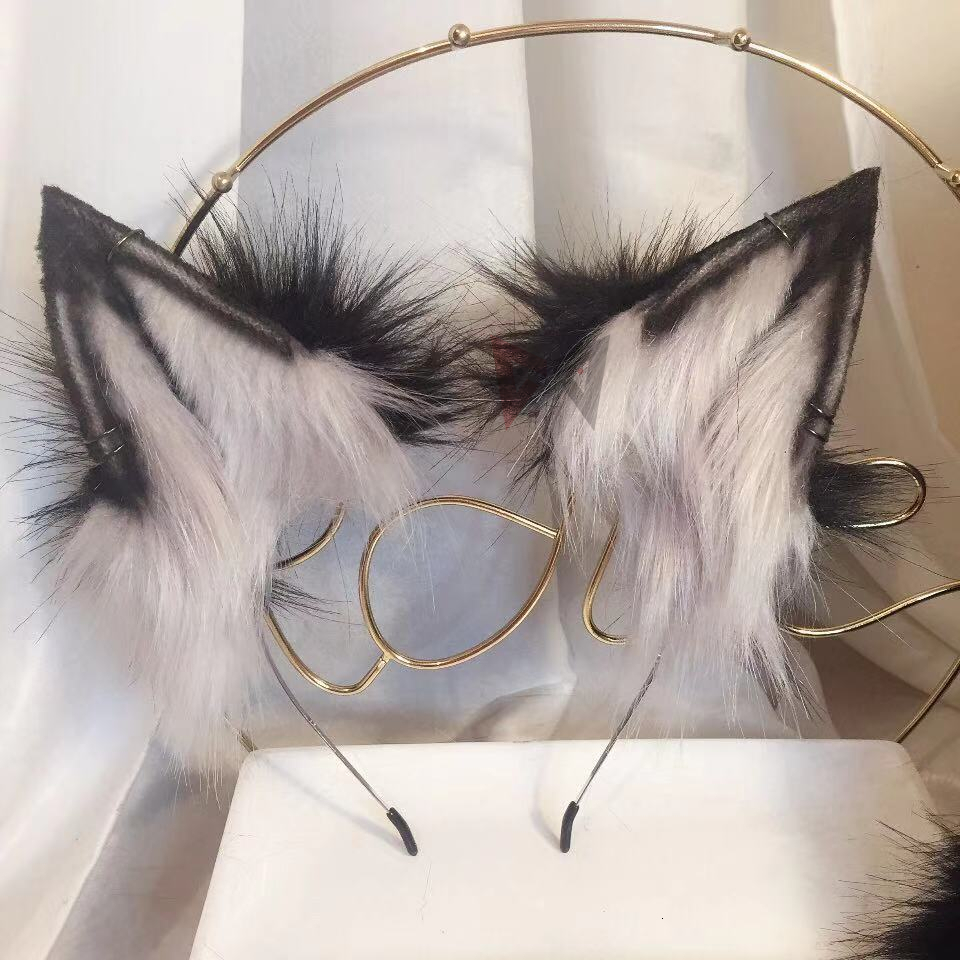 MMGG New Black Wolves Beast Ear  Hair Hoop With Earrings Anime Cosplay Costume Accessories