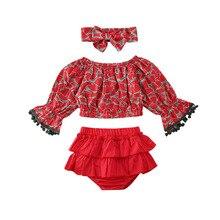 Новинка года; Лидер продаж; повседневная одежда для новорожденных девочек; сезон весна-осень топы; футболка кружевные штаны с оборками повязка на голову; наряд с бахромой