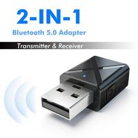 2 in 1 Bluetooth 5.0 Audio Receiver Transmitter Wireless Adapter Mini 3.5mm AUX Bluetooth Stereo for TV Car Kit Wireless Adapter