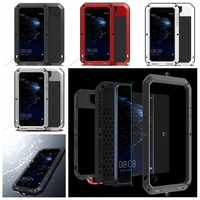 Aluminum Metal Waterproof Armor Case for Huawei P10 P10 Plus / Maimang 5 Shockproof Full Body with Tempered Glass Cover
