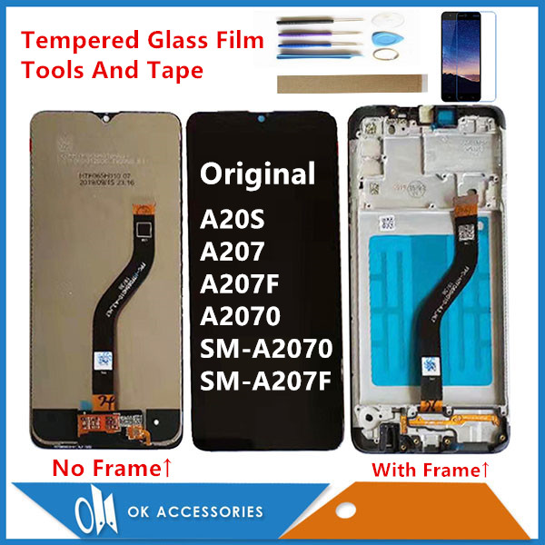 6.5 Original For Samsung Galaxy A20S A207 A2070 A2070 SM A207F A207F LCD Display Touch Screen Glass Sensor With/No Frame + Kits