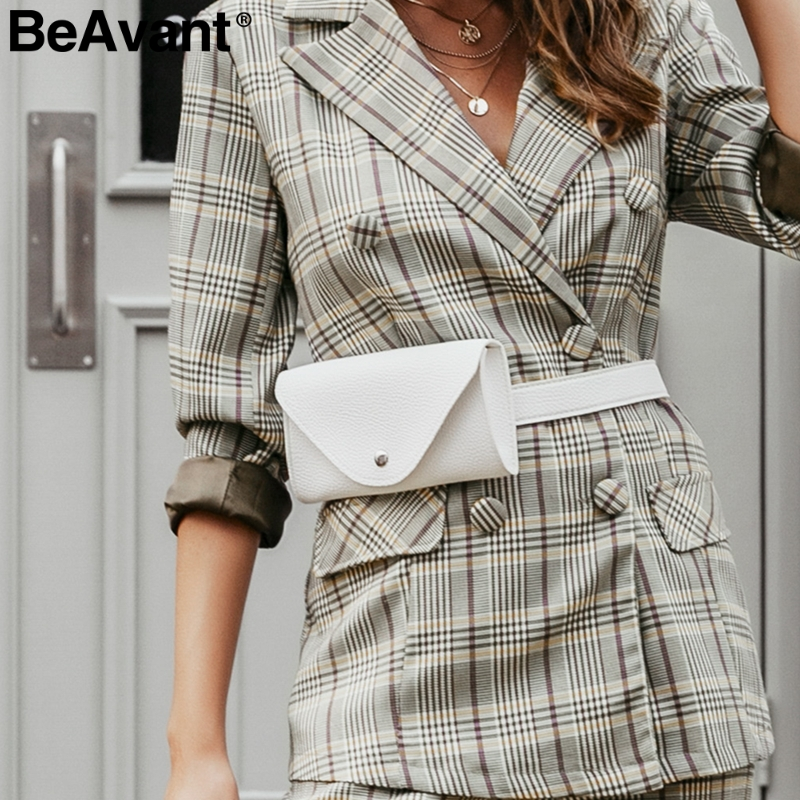 BeAvant Trendy Pu Leather Women Waist Bag Button Belted Adjustable Female Messenger Bags Casual Ladies Fanny Pack Crossbody Bags