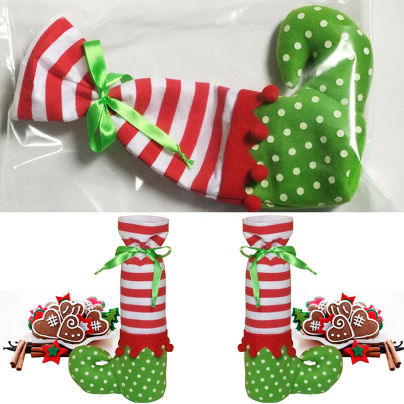 1pc Christmas Elf Pants Candy Bags Wine Stocking Bottle Gift Bag Decor