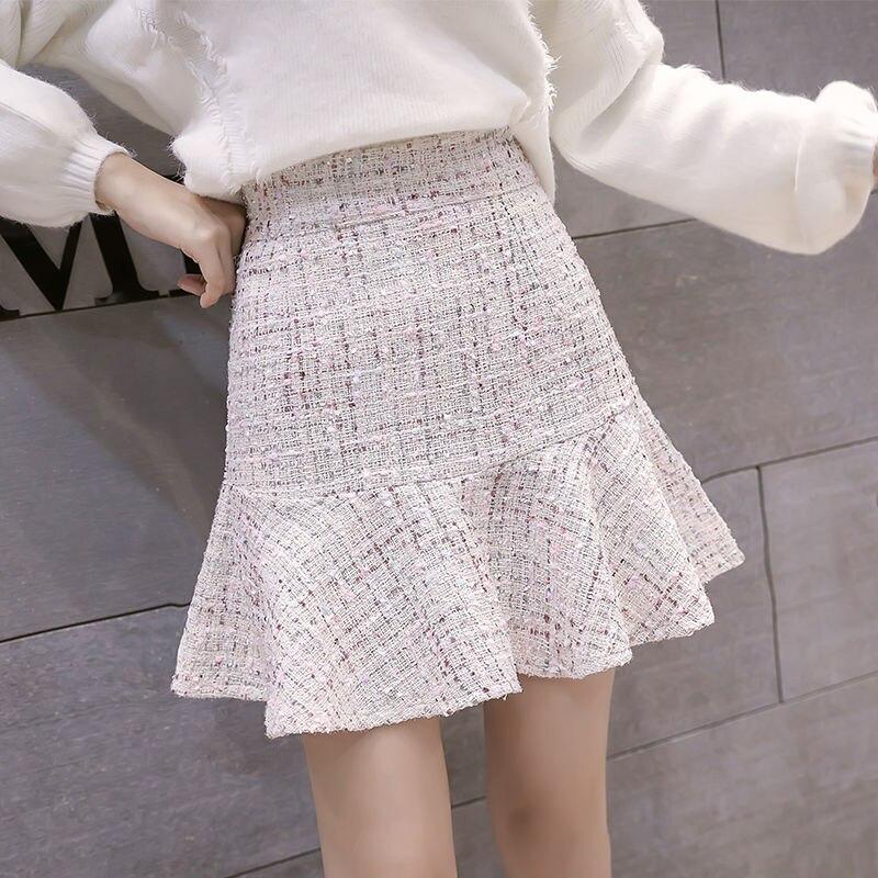 New Korean Of High Waist Tweed Skirt With Button Wool Half-length Black Skirt Autumn Winter 2019