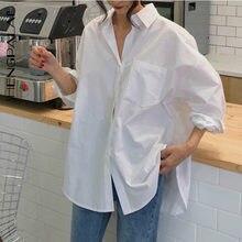 SHENGPALAE 2021 camicia da donna bianca Vintage primavera top da donna manica lunga Casual colletto rovesciato camicette larghe da donna ZA2899