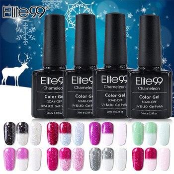Elite99 Snowy Thermische Farbwechsel Gel Nagellack Holographische Glitter Temperatur Weg Tränken UV Gel Lack 10ml Nail art gel