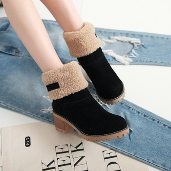 Women's Suede Snow Boots Winter Cotton Shoes High Heeled Shoes  Warm Plush Faux Fur Ankle Boots  Double Wear Plush Thermal Boots 7