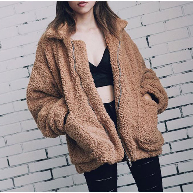 Elegant Warm Soft Zipper Fur Coat Jacket 1