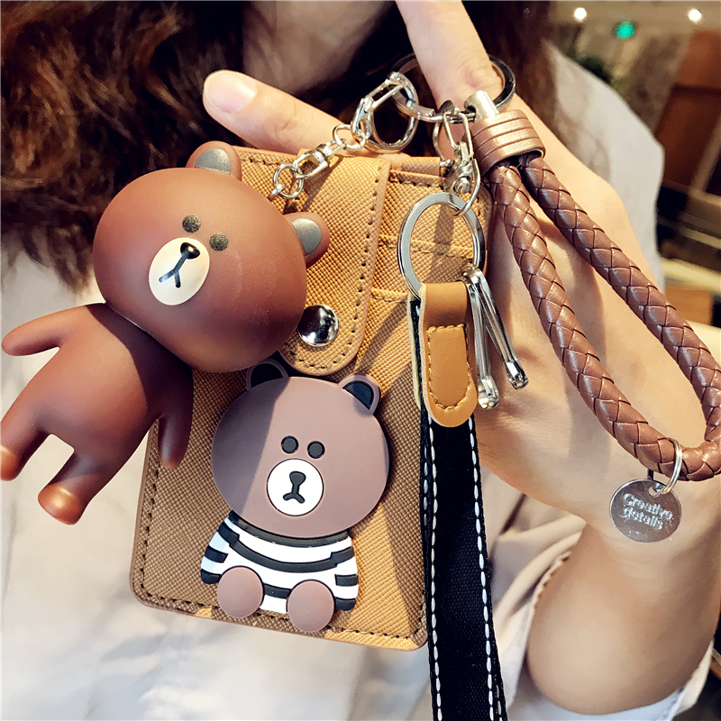 3 Layers Kawaii Line Bear PU ID Credit Bank Card Holder With Keychain Toy Bus Card Protector Cover Case School Office Stationery