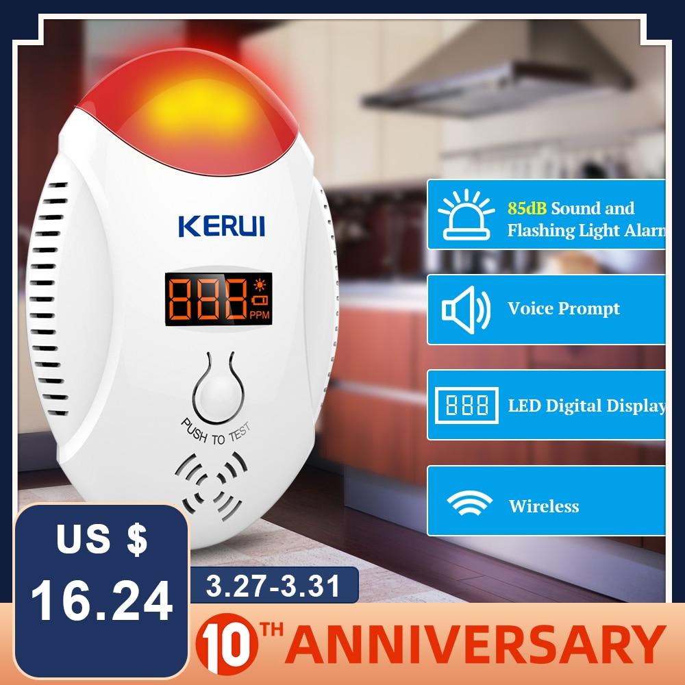 KERUI LED Digital Display Voice Strobe Carbon Monoxide Home Security Smart CO Gas Carbon Alarm Sensor Detector For Alarm Systems