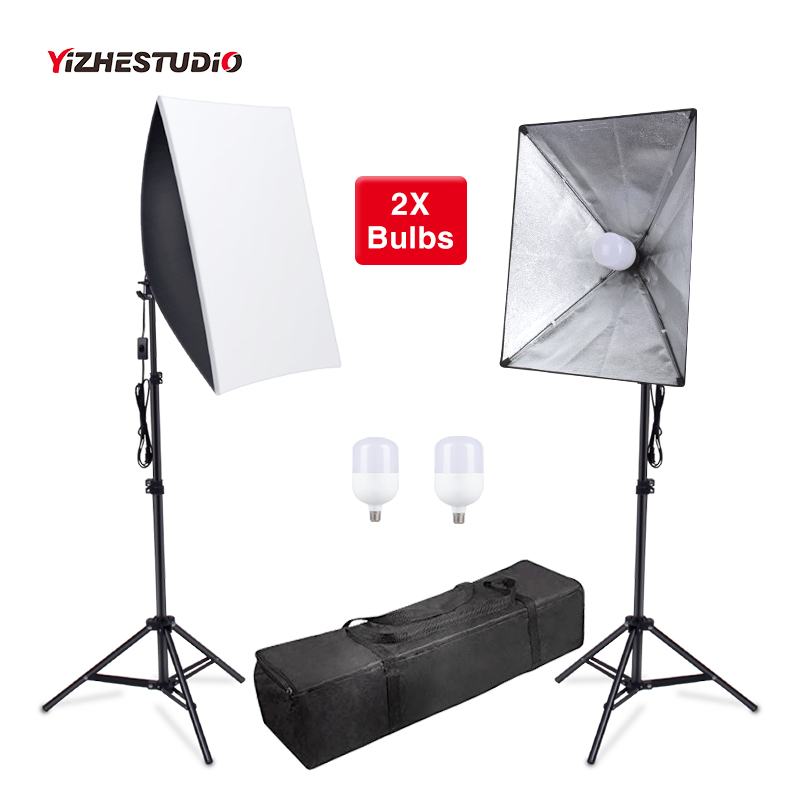 Yizhestudio 2Pcs/set Photography Softbox With 58W Lamp Holder ,2M Light Stand Photo Studio Soft Box Kit