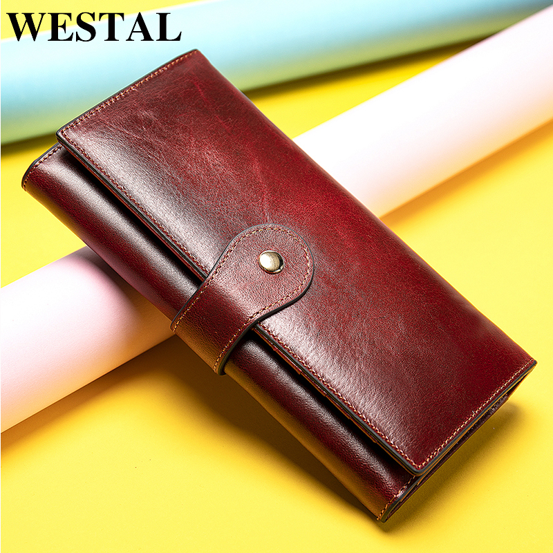 WESTAL Wallet Women Genuine Leather Women's Wallet/purses Clutch Female Wallets For Crad Coin Leather Ladies Clucth Bag For Girl