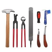 8 шт. набор для ухода за конским маникюром, многоцелевой конский Фарриер, кусачки для копыт, напильник для обуви, нож для копыт, инструмент