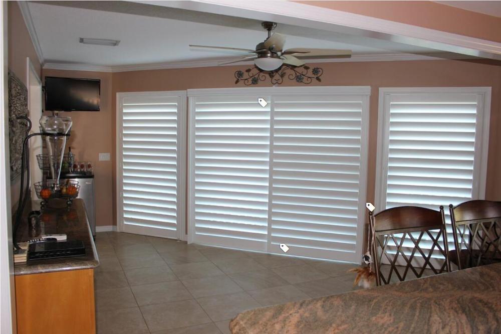 Custom Basswood Plantation Shutters  Wooden Blinds Solid Wood Shutter Louver PS212