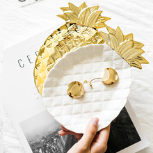INS Pineapple Shape Jewelry Storage Plate Ceramic Dessert Decorative Dishes Multifunction Desktop Tray Kitchen Fashion Tableware