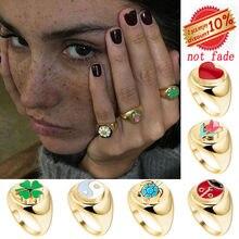 AOMU szkliwione Daisy tulipan pierścień kobieta moda Punk Metal kwiat koniczyny złoty pierścień osobowość palec wskazujący pierścionek z ogonkiem kobiet