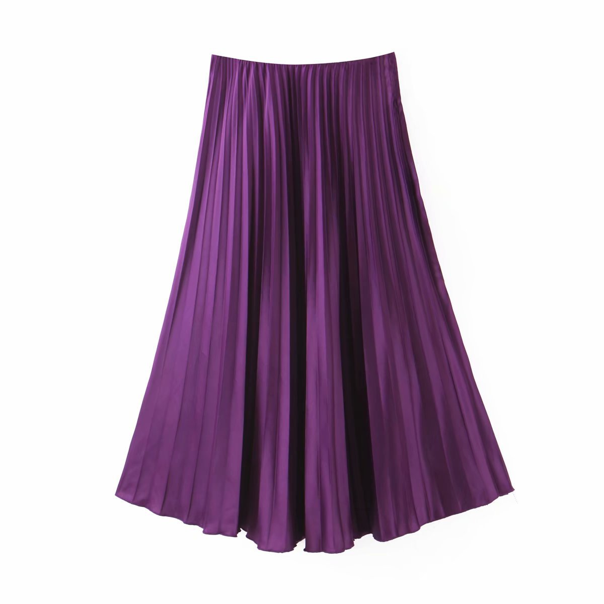 Women Elegant Purple Pleated Skirt Elastic Waist Basic Solid Midi Skirts Female Casual Mid Calf Skirts Mujer