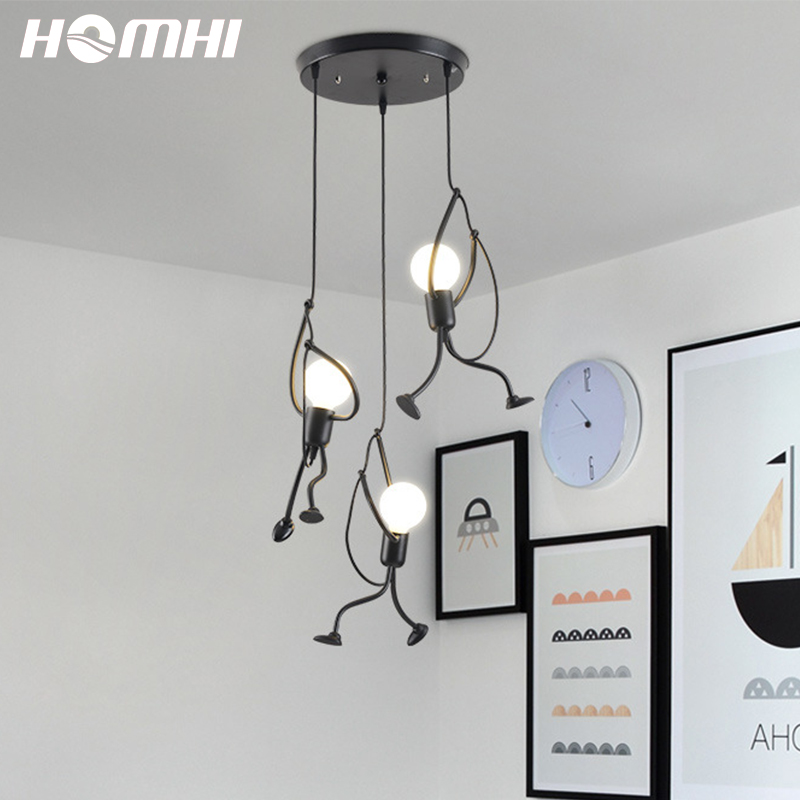 3light pendant lighting Black pendant light Kids Hanging Decoracion Hogar Moderno Monkey Lamp Deco Maison Design Baby Room