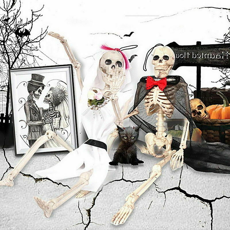 New 40cm <font><b>Poseable</b></font> Halloween Mini Human <font><b>Skeleton</b></font> Party Home Decoration Small Furnishing Articles Prop image