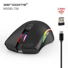 ZERODATE new TYPE C fast charging mouse wireless mouse 2.4G colorful breathing light black suitable for notebook desktop PC