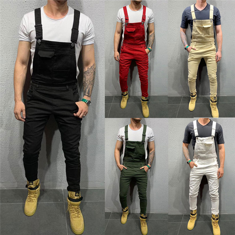 Fashion Men's Denim Jeans Dungarees Overalls Jumpsuit Slim Fit Suspenders Bib Pants Solid Trousers Jumpsuits
