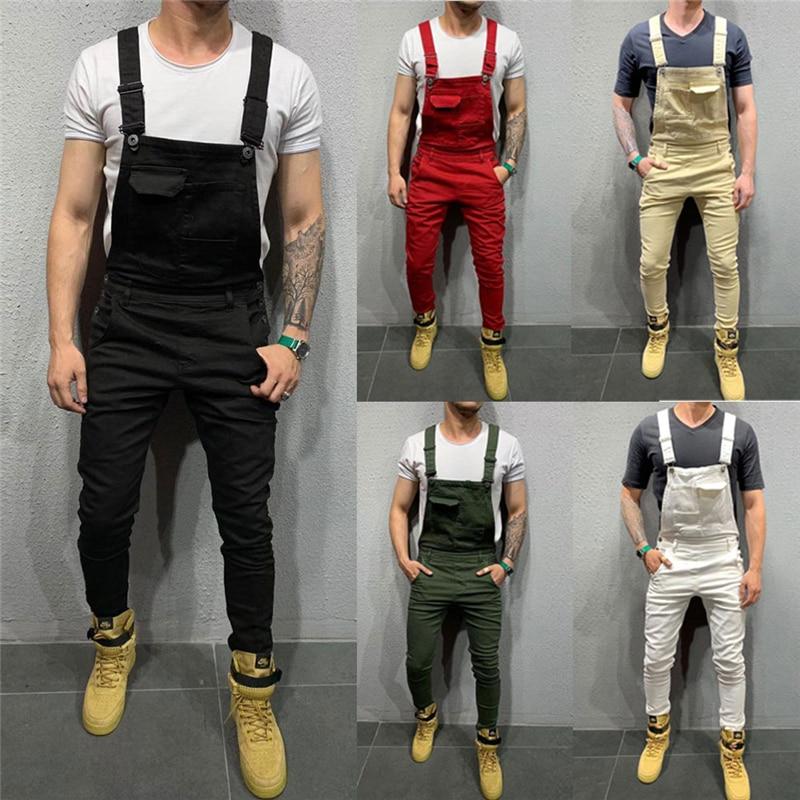 Fashion Men's Denim Jeans Dungarees Overalls Jumpsuit Slim Fit Suspenders Bib Pants Solid Trousers Jumpsuits