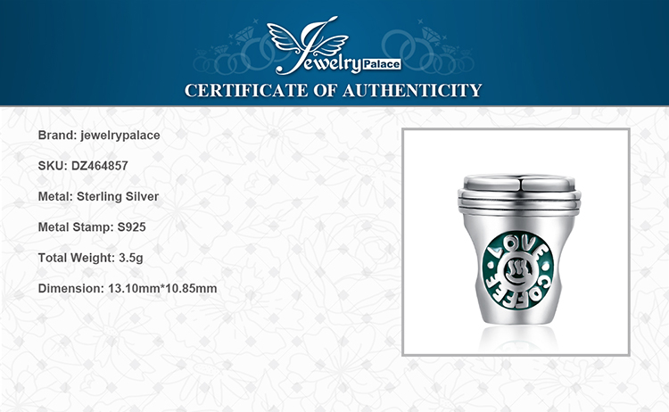 H1aa8741cd3524453bac028a1ed577c3d2 JewelryPalace Coffee Cup 925 Sterling Silver Beads Charms Silver 925 Original For Bracelet Silver 925 original Jewelry Making