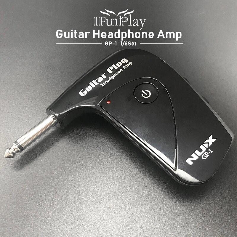 Nux GP-1 plugue da guitarra elétrica mini fone de ouvido amp embutido com efeito de distorção britânico clássico compacto portátil