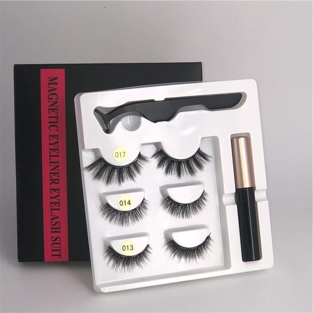 Makeup 3 pairs of magnetic eyelashes + liquid eyeliner + tweezers, waterproof long lasting eyelash extension eyelash set 5