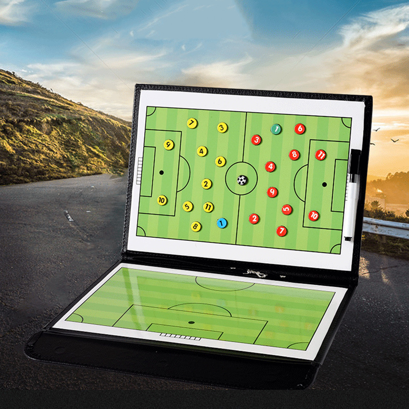 Magnetic Football Coach Board Erasable Folding Soccer Tactics Coaching Board Plate Book Sets With Pen For Sports Training Match