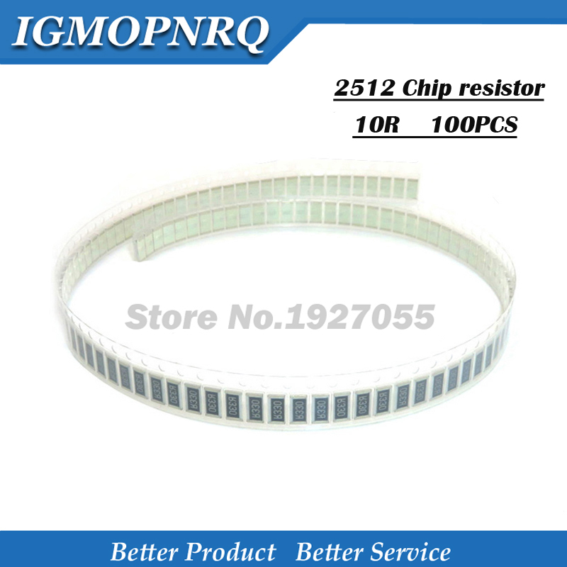 50PCS Chip Resistor 2512  5% 10 Ohm 1W 10R 100 SMD Resistor 10R 5% 1w 2512 NEW