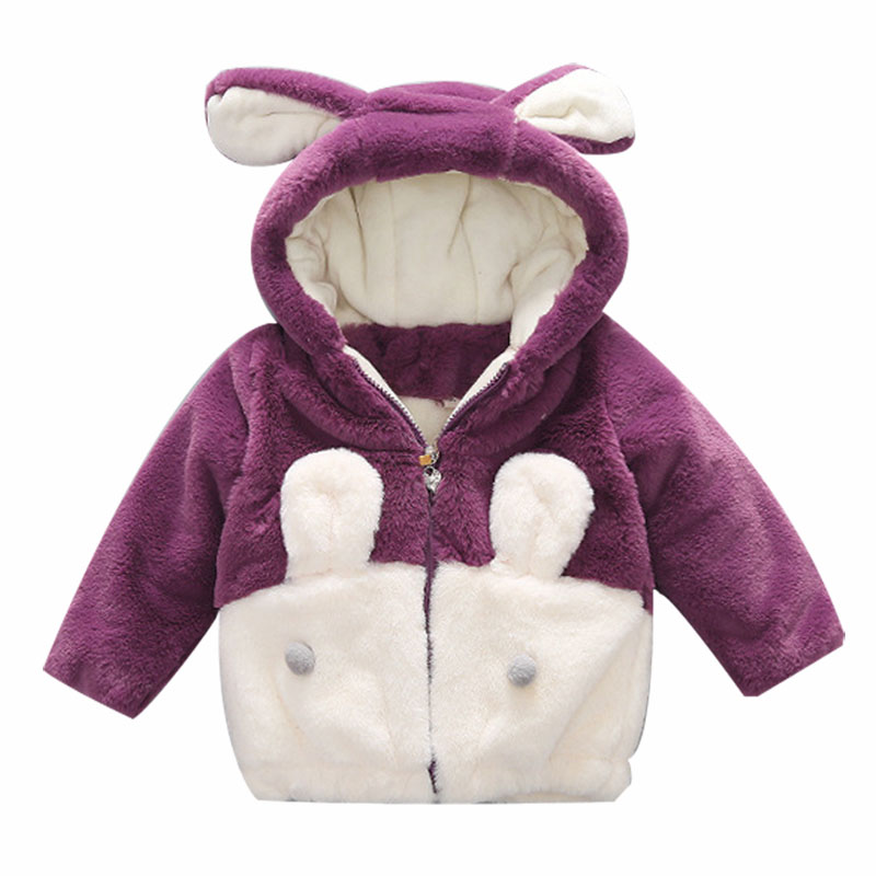 Kids Winter Coat For Girls Children Cute Girls Jacket Toddler Long Sleeve Fur Coat Zipper Hoodie Outfits Pink Purple 1 to 8 Year