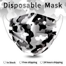 10-200 шт. камуфляжная одноразовая маска для лица 3 Слои фильтр из нетканого материала из дышащего материала для взрослых с принтом маска для п...