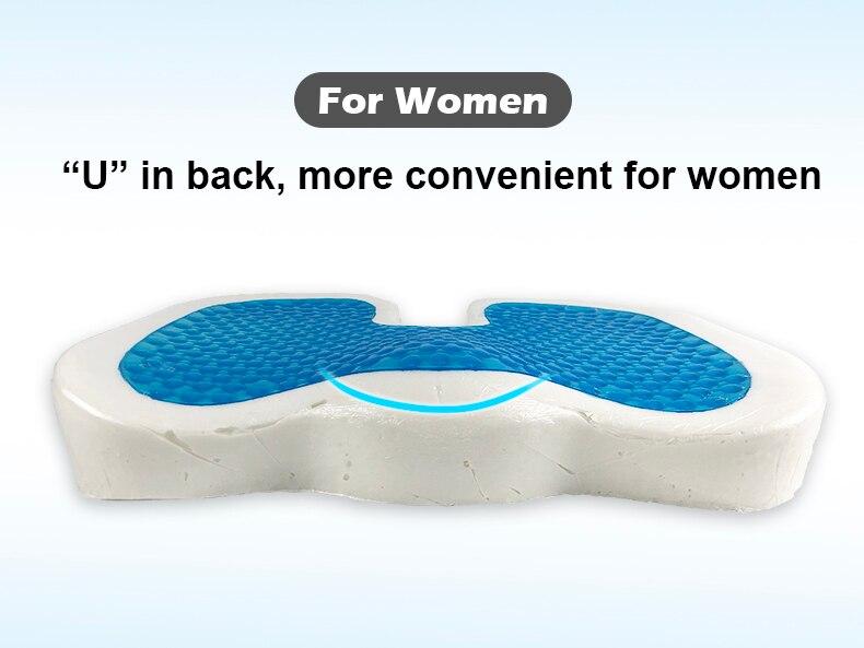 PurenLatex 4636 U Shape Silicone Gel Cushion Memory Foam Pillow Coccyx Protect Slow Rebound Summer Cool Chair Cushion Seat Mat-xq (10)