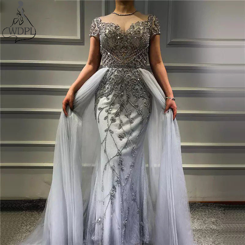 Robe de soiree 2019 Beads Mermaid   Prom     Dresses   with Detachable Train Sheer Neck Short Sleeve Gray Lace Tulle Evening   Dress