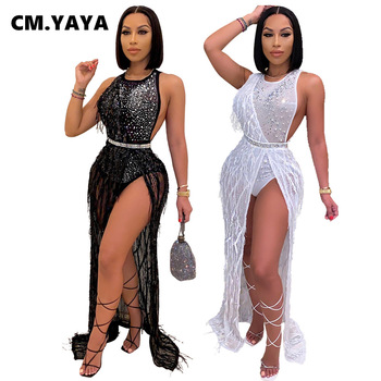 CM YAYA Otoño Invierno mujeres liso con lentejuelas vestido de cintura alta de manga larga calle Sexy vestido largo Maxi Vestidos de noche, Vestidos