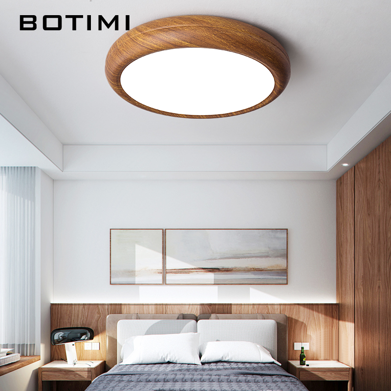 Botimi New Chinese Bedroom Led Round Ceiling Light Imitative Wood Painted Metal Simple Rooms Lamp Study Room Lighting Fixtures Ceiling Lights Aliexpress