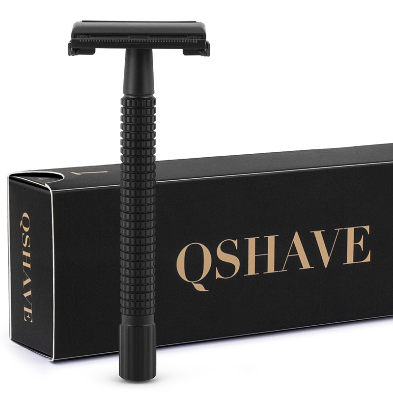 Qshave IT Matte Black Steel Coating Safety Razor Long Handle Butterfly Open Classic Safety Razor 11.4 X 4.3 Weishi With 5 Blades