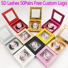 50 Pairs 5D Ciglia di Visone Ciglia Finte Naturali Lunghe Ciglia Fatto a Mano Professionale di Trucco di Bellezza Strumenti di Cosmetici Make Logo