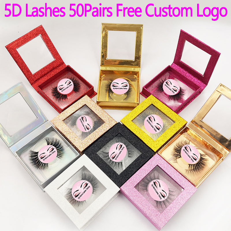 50 Pairs 5D Mink Lashes False Eyelashes Natural Long Lashes Professional Handmade Makeup Beauty Cosmetic Tools Make Logo Free