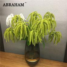 Rama de árbol de Astilbe Artificial, árbol de 60cm, 3 tenedores, vid de planta verde de plástico de pino Artificial, flor de tacto Real para decoración de corona de boda para el hogar