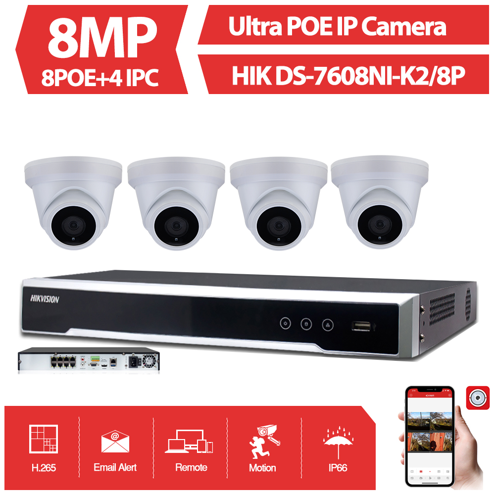 NEUE 8CH CCTV System kit Ultra 8MP Outdoor Sicherheit POE Kamera mit Hikvision 8 POE NVR DS-7608NI-K2/8 P video Überwachung Kit