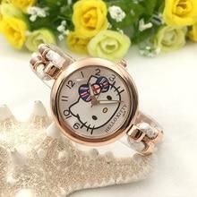 Высокое качество KT кошка часы для девочек дети студент цветок группа часы Relogio мультфильм сайт hodinky Ceasuri анфан