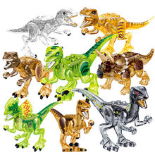 8pcs/set Big Size Jurassic Crystal Dinosaurs T-Rex IndoRaptor Triceratops Children Assembled Building Blocks Figure Toy for kids(China)