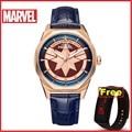 4000537437763 - Relojes para mujer de cuarzo oficial de MARVEL, reloj de hombre de lujo de capitán Marvel, 5 bares, resistente al agua, reloj deportivo Casual, hombre unisex