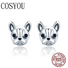 COSYOU 100% 925 Sterling Silver Loyal Partners French Bulldog Dog Animal Small Stud Earrings for Women Oorbellen Jewelry SCE283(China)