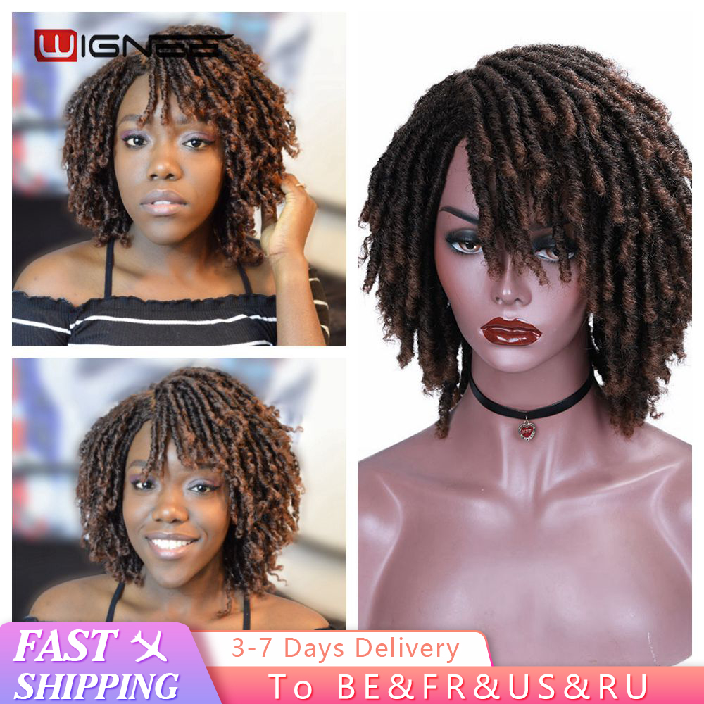 Wignee Short Soft Brown Synthetic Wigs For Women Faux locs Afro Kinky Curly Braiding Hair With Bangs Crochet Twist Hair Wigs