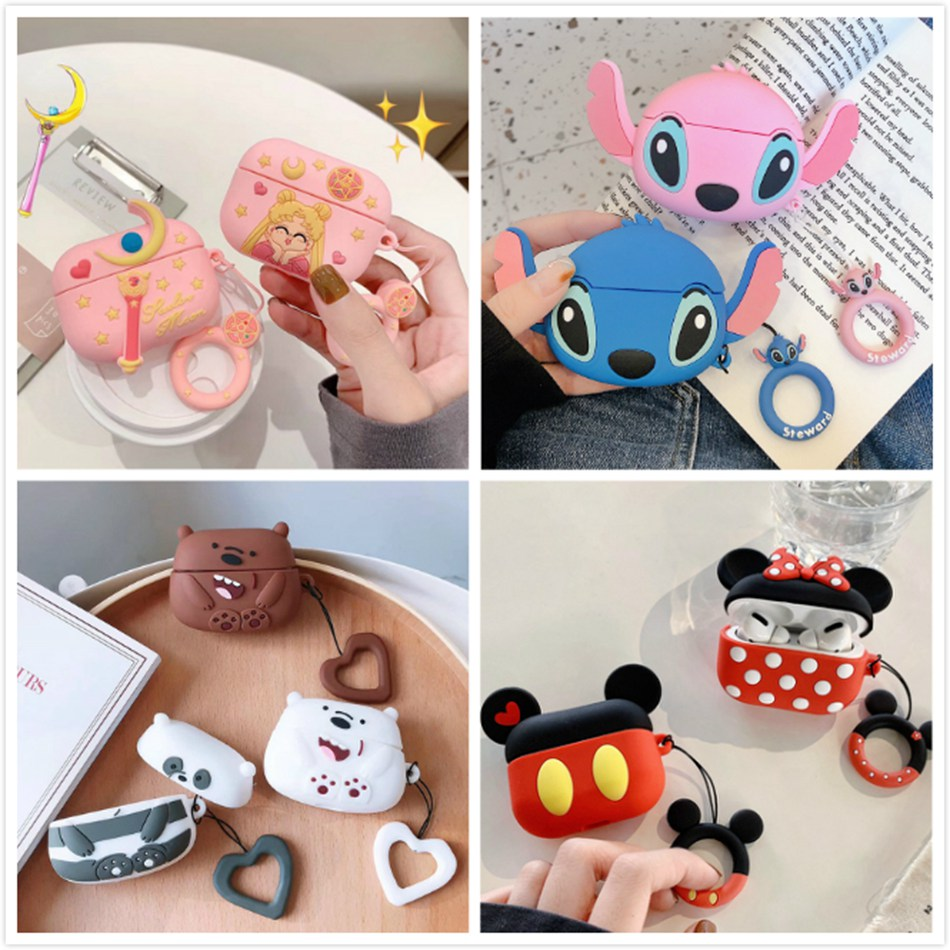 3D Earphone Case For Airpods Pro Case Silicone Cute Girl Stitch Cartoon Headphone/Earpods Cover For Apple Air Pods Pro 3 Cases