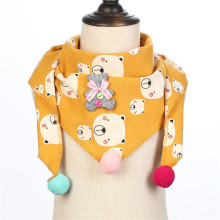 Cotton Scarf Girls Triangle Scarves Autumn Winter Boys Shawl Neckerchief Print Kid Baby Bib Collar Wear Accessories